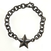 Black Silver one Star Bracelet