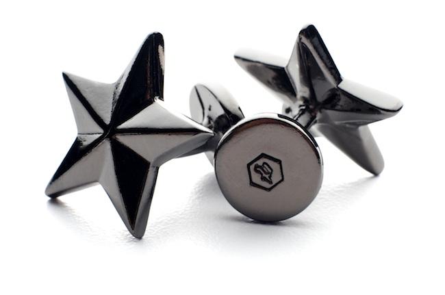 Sterling Silver Gun Metal Plated Black Star Cufflinks Pnut