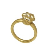 Solid Gold Cupcake Ring with VVS Diamonds