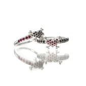 Sterling Silver Crossbone Ring with Rubies and Black Diamonds 1