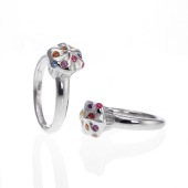 Sterling Silver Cupcake Ring with Multi Colored Sapphires